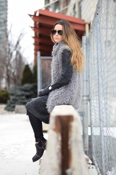 Faux fur gray vest over matching wool knee length shift dress
