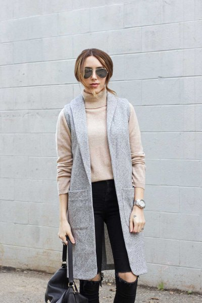 pink pink sweater neck sweater with gray long-line vest