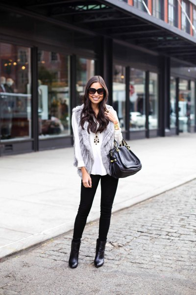 light gray fur vest with white chiffon blouse