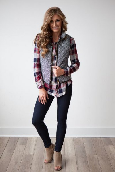 gray quilted vest with black and gray checkered boyfriend shirt