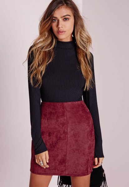 black suede neck with ribbed fit shirt with burgundy suede mini skirt