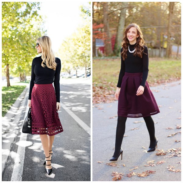 black long-sleeved fitted tee with burgundy half-cut midi skirt
