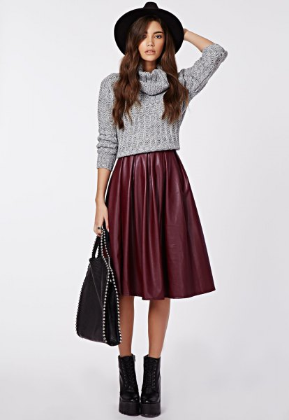 gray cabbage cropped sweater with midi silk extended skirt