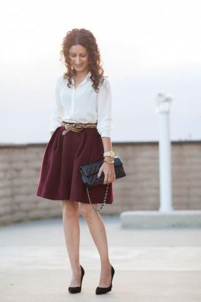 white button up shirt with belt mini skater skirt
