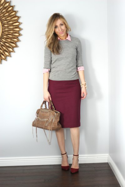 gray halter sweater with white button shirt and burgundy pencil skirt