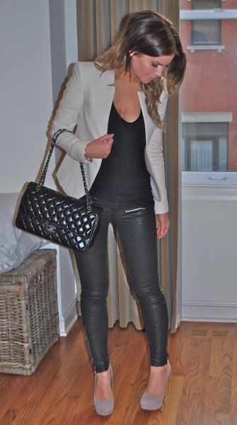 gray jacket with scoop neck cotton and leather pants