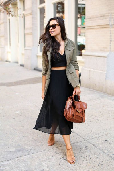 khaki blazer with cropped deep v-top and high height chiffon maxi skirt