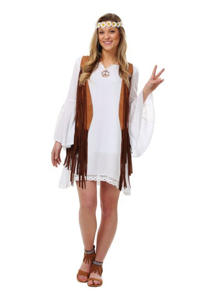 white watch sleeve mini shift dress with black hippie vest