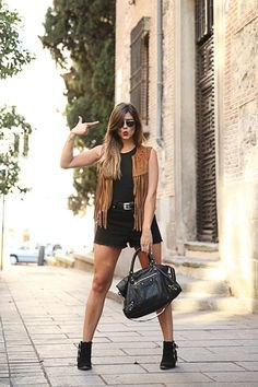 black tank top with denim mini shorts
