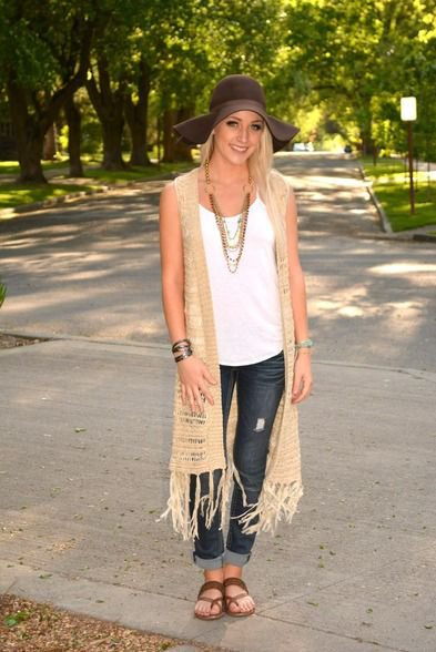 crepe longline crochet knitted vest with cuffed skinny jeans