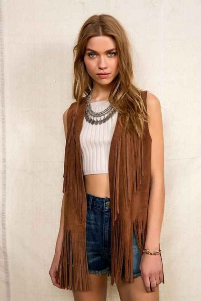 brown hippie vest with white ribbed cropped sweater