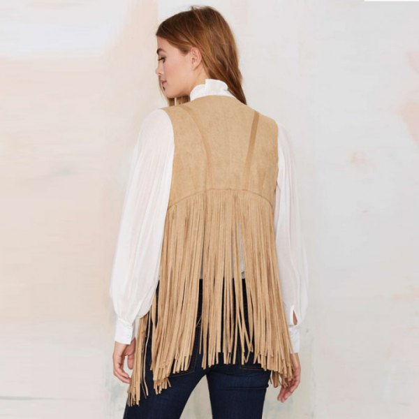 crepe fringe vest with white chiffon blouse