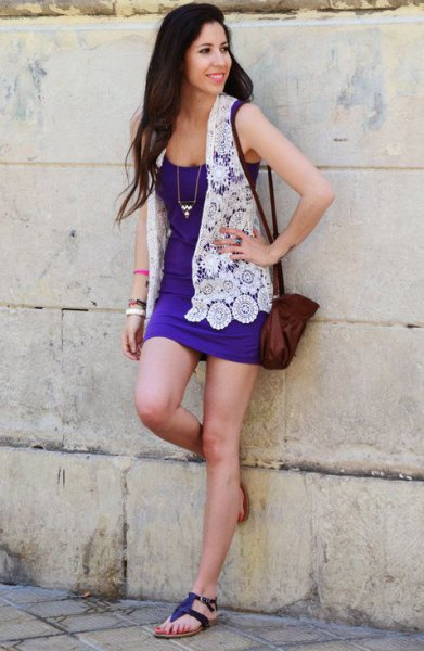 white hippie floral lace vest with royal blue mini dress