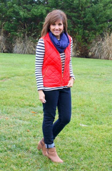 quilted vest with blue scarf and brown leather heeled heels