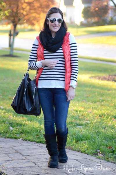 white and black striped sweater with suede high boots