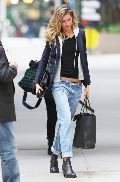 navy blue blazer with white hood with zipper and black cropped tee