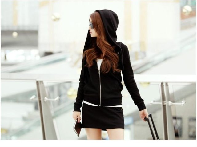 black hooded zipper with mini matching skirt