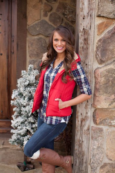 light red faux fur collar hooded vest with navy checkered boyfriend shirt