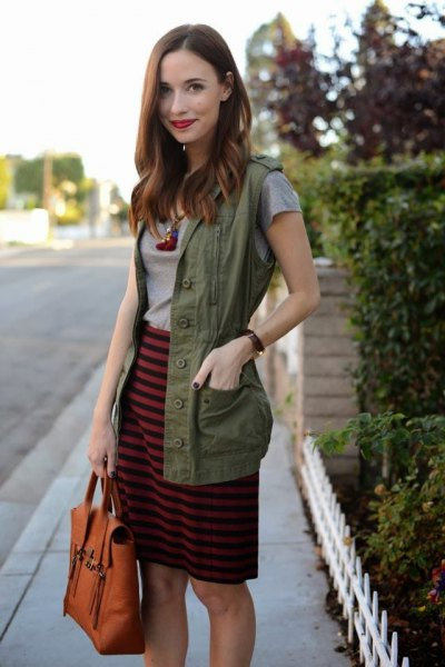 gray and black striped knee length skirt with military vest