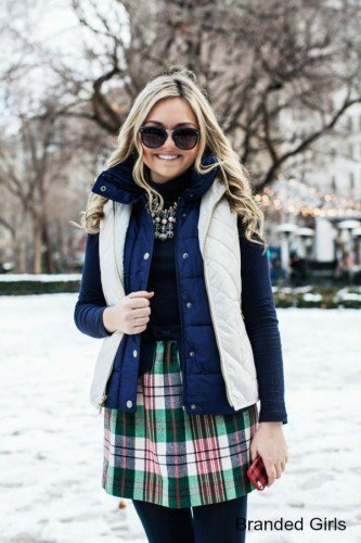 white and blue double vest with black checkered skater skirt