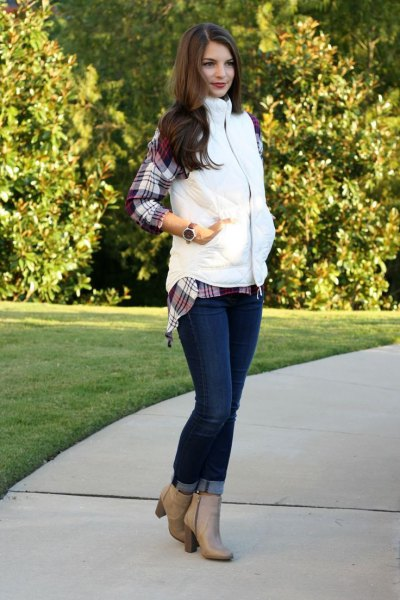 gray checkered boyfriend shirt and blush pink leather boots