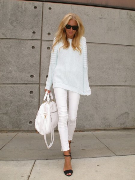 white casual fit rib knit sweater with matching slim cropped jeans