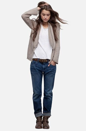gray cardigan jacket with white tee and dark blue loose fit jeans