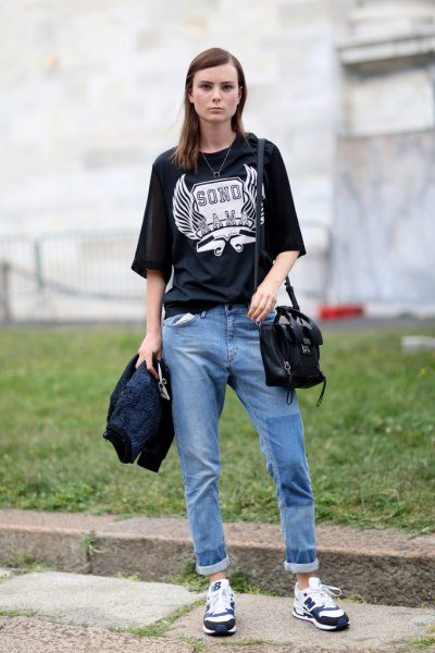 black large tee shirt with cuffed casual fit jeans