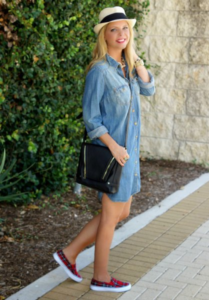 light blue chambray shirt dress with black and red checkered cloth shoes