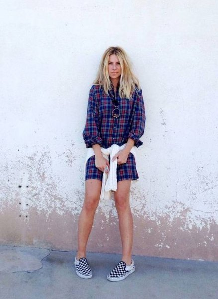 blue boyfriend shirt dress with black and white checkered shoes