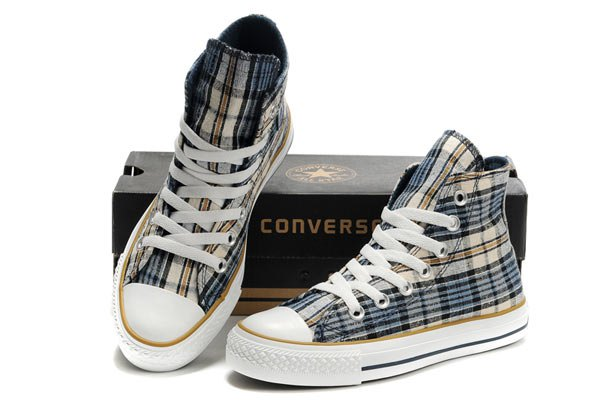 black gray and orange high checkered canvas sneakers