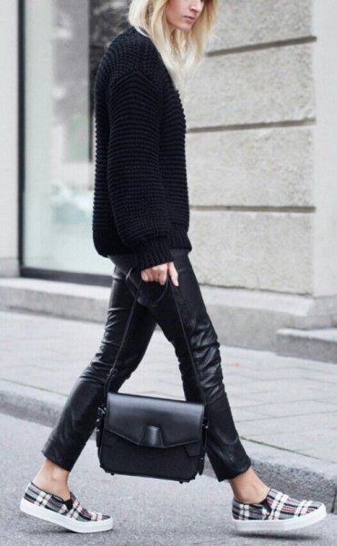 black sweater with leather clothes and gray checkered shoes