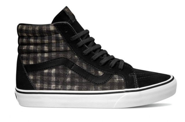 black gray and white high top cloth shoes