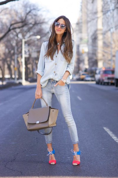 chambray button up shirt with light blue cuffed skinny jeans