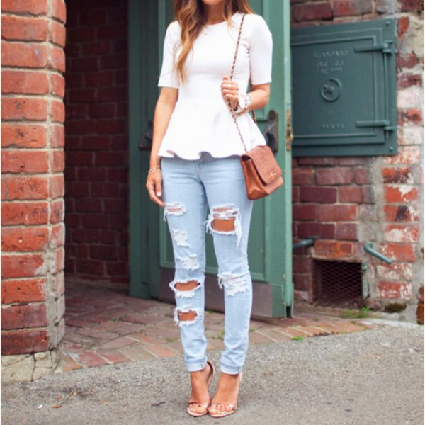 white short sleeve peplum top with ripped light blue jeans
