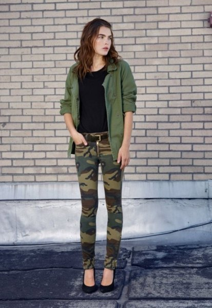 green park jacket with camo jeans and black ballet heels
