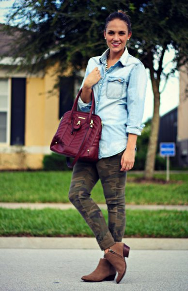light blue chambray button up boyfriend shirt with ankle jeans and suede boots