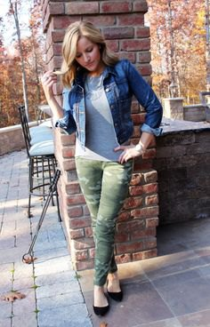 blue denim jacket with gray tee and slim jeans