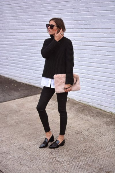 black sweater with white button up shirt and pink pink clutch bag
