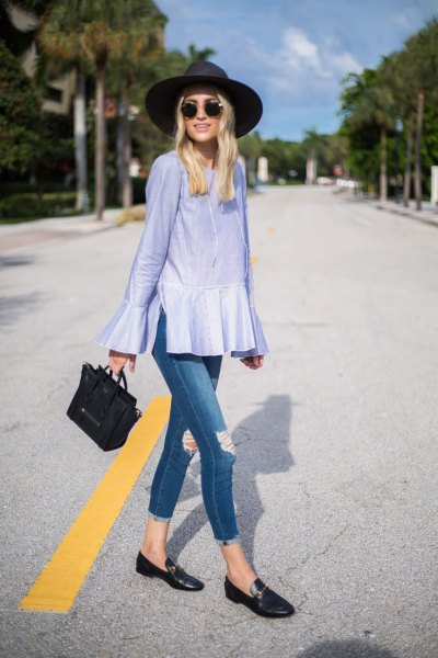 light blue peplum bell sleeve with black casual loafers