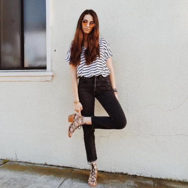 black and white striped short-sleeved t-shirt with slim high waist jeans