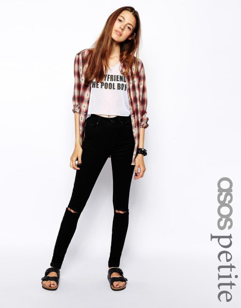 gray and white plaid boyfriend shirt with cropped tee