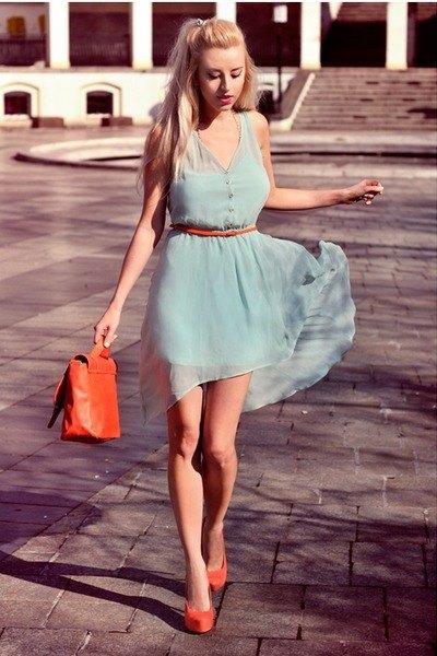 light gray belt mini chiffon dress with orange heels