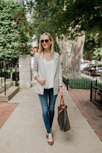white v-neck blouse and leopard print flats