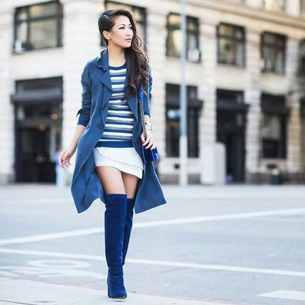 navy blue excavator skirt with white mini-shawl skirt and blue thigh high boots