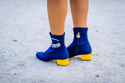 royal blue and lemon yellow ankle boots with white mini-shift dress
