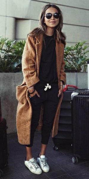 brown maxi length wool travel blazer with black sweater and cropped jeans
