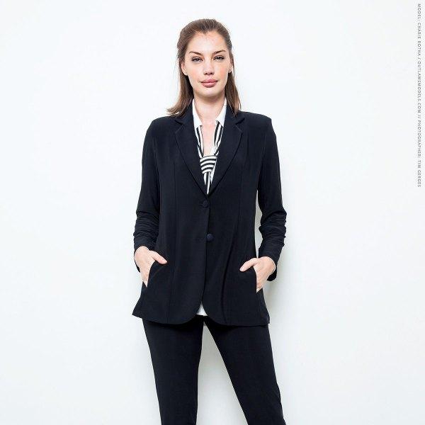 black travel blazer with matching chinos