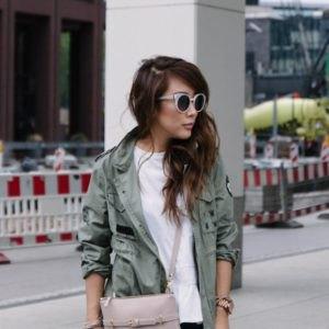 gray travel blazer with white t-shirt