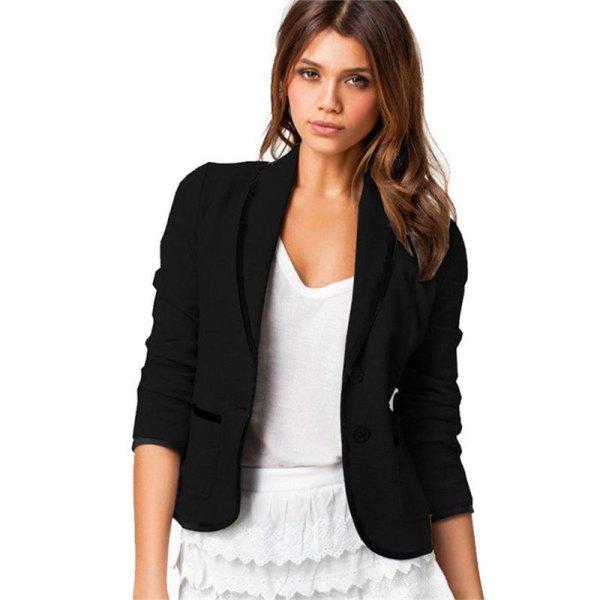 black short-sleeved cotton blazer with white peeled mini skirt